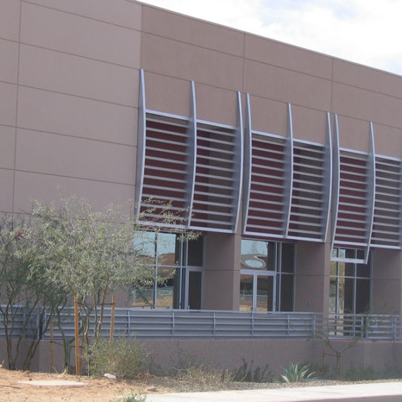 Aerohead at Scottsdale Airpark. Aluminum wall accents and railing.