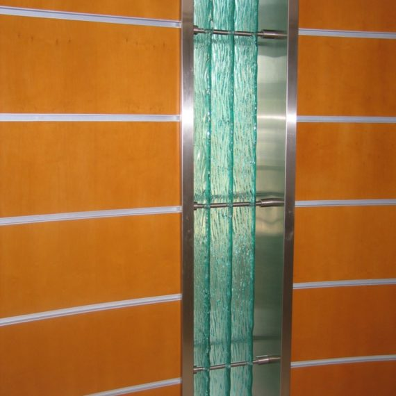 Ancona. Meltdown glass supported by stainless steel.