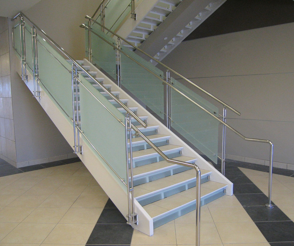 Ancona office Center - frosted glass with stainless steel post and handrail.