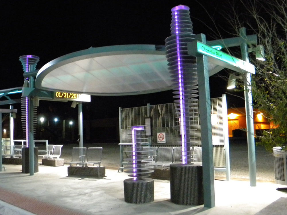 Valley Metro Chandler bus stop. Aluminum disc with lighting.