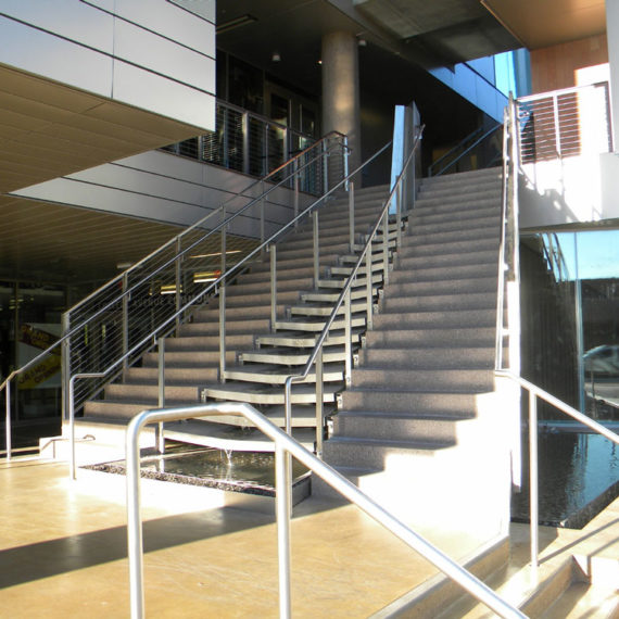 ASU Recreation building. Water falls within Stainless stairway.