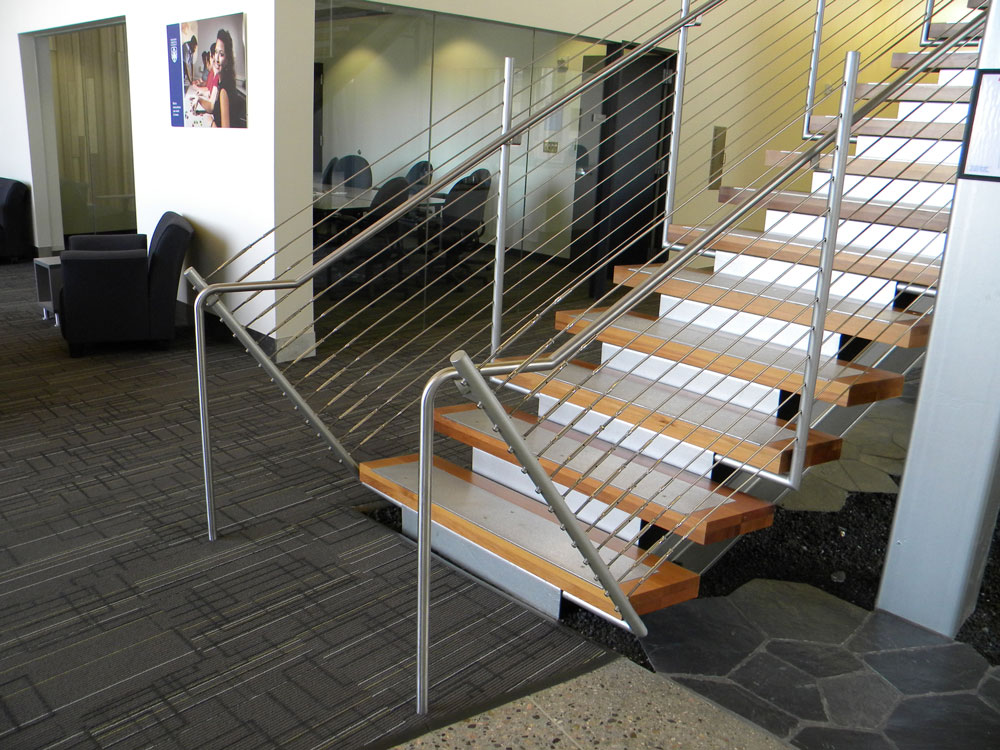 Prescott Valley Library - Stainless steel cable and handrail on painted steel post.