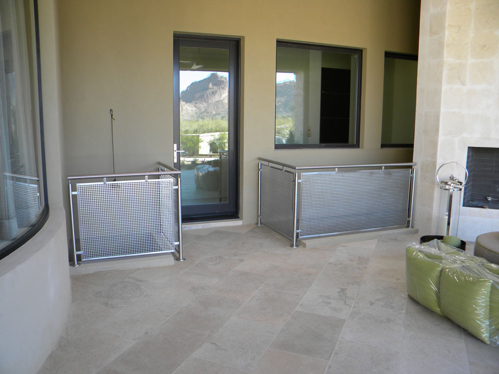 Private residence - stainless steel perf metal in stainless steel frame.