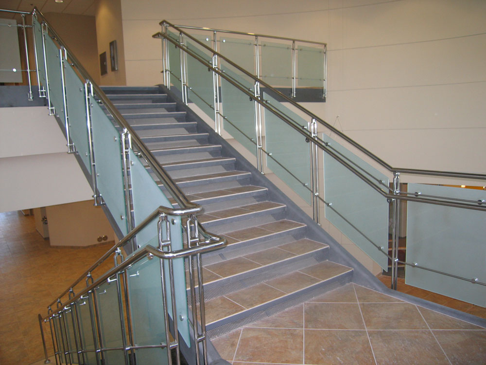 Ancona office Center - frosted glass with stainless steel post, cap rail, and handrail.