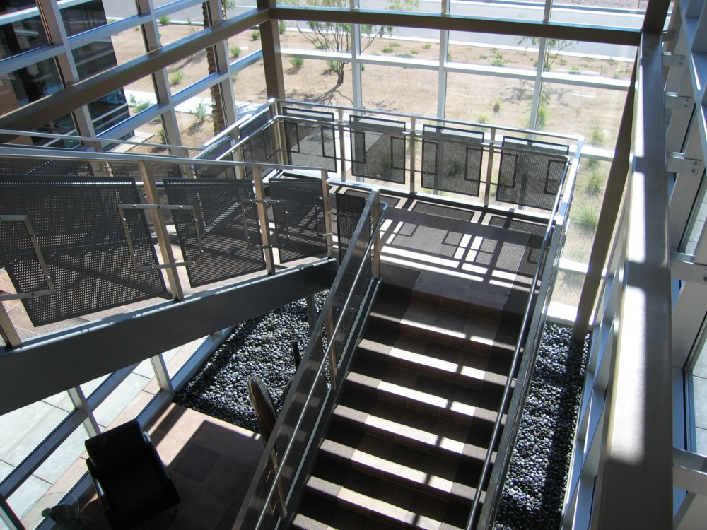 Pima Commerce Center - painted steel perf metal with stainless steel post, cap rail, handrail and trim.