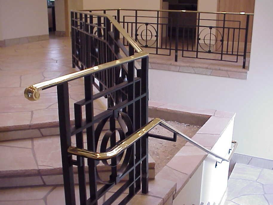 Private residence - Painted steel with brass top cap and handrail.