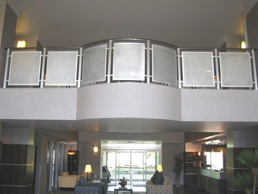 Wingate Hotel - radius aluminum perf metal and railing with clear coat.