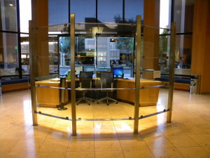 Rio Salado. Stainless steel and glass desk top and room divider.