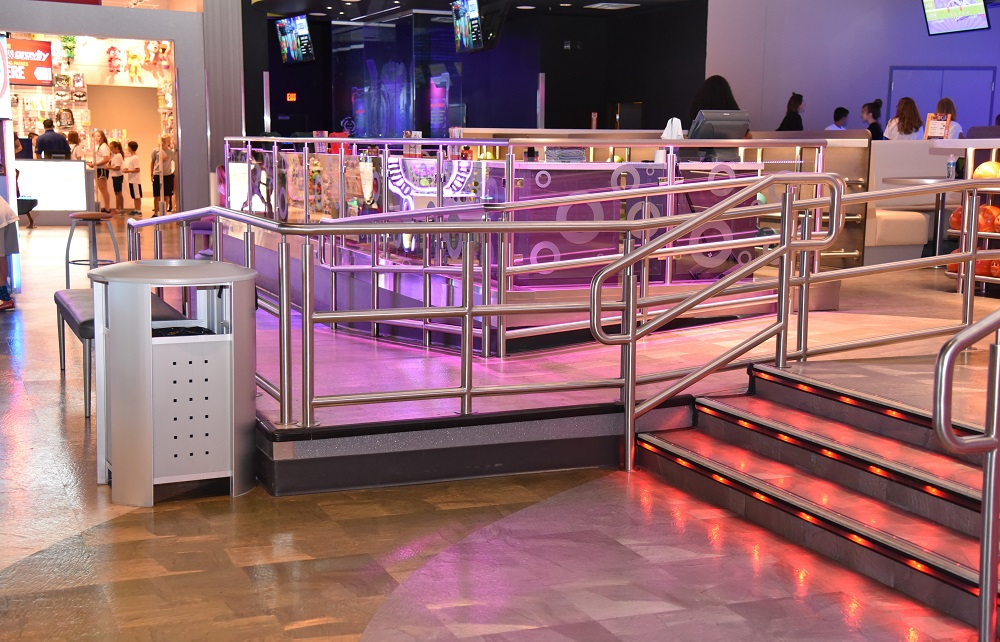 Scope: Custom Illuminated bar rack and illuminated glass guardrails. Contractor: A. R. Mays