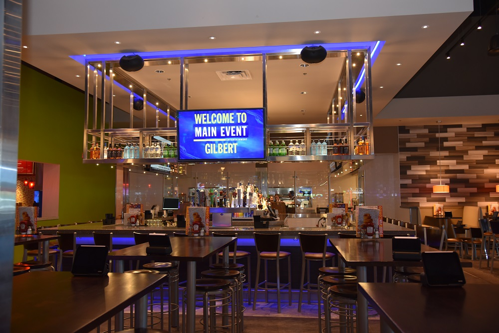 Scope: Custom Illuminated bar rack and illuminated glass guardrails. Contractor: A. R. Mays Construction