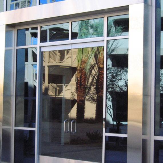 Deer Valley Med Center. Stainless steel cladding front entrance.