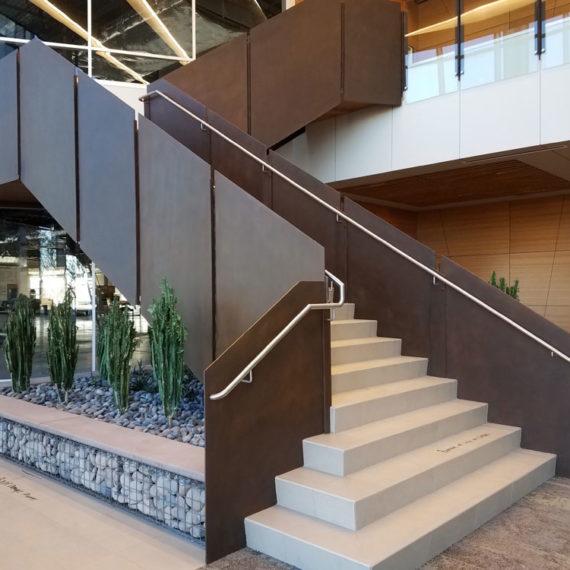Liberty Three. Steel panels with custom finish, stainless Handrail.